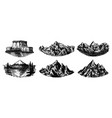 set mountains peaks vintage rock old vector image vector image