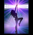 sexy pole dancer under spotlights vector image vector image