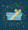 shining gift box icon with hearts in flat style vector image