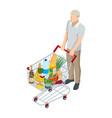 shopping cart full food man pushing vector image vector image