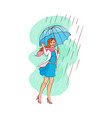 sketch young woman walking umbrella rain vector image