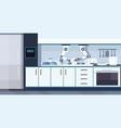 smart handy chef robot washing dishes robotic vector image vector image