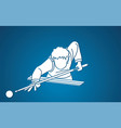snooker player action cartoon graphic