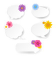 speech bubble set with flowers white background vector image vector image