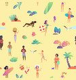 summer beach seamless pattern top view vector image vector image