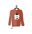 Sweater on hangers with funny cat design vector image vector image
