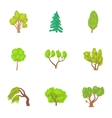 Trees icons set cartoon style vector image vector image