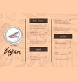 vegan restaurant menu identity hand drawn design vector image vector image
