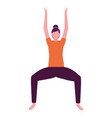 woman practicing yoga white background vector image