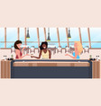 women group sitting at bar counter desk mix race vector image vector image