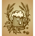 Wooden beer mug vector image
