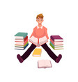 young man reading books sitting on the floor vector image vector image