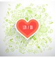 helthy lifestyle heart concept doodle vector image