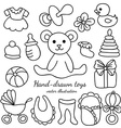 Hand-drawn Baby Goods and Toys Set vector image