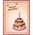 vintage background with cake tier and candle vector image