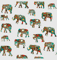 abstract colorful pattern with elephants vector image vector image