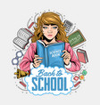 back to school girls reading books vector image
