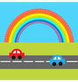 Background with rainbow road and cartoon cars vector image vector image
