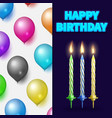 birthday party banner or card with cake candles vector image vector image
