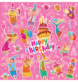 Birthday stickers vector image vector image