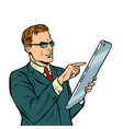 businessman and smartphone with big screen isolate vector image vector image