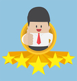 Businessman thumbs up with five star rating vector image