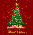 christmas tree with gift boxes vector image