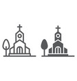 church line and glyph icon religion and building vector image vector image