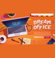 dream office website with workspace with laptop vector image