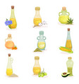 flat set of glass bottles of different vector image vector image