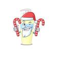 friendly serum dressed in santa cartoon character vector image vector image
