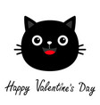 happy valentines day black cat round face head vector image vector image
