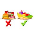 healthy and unhealthy food concept vector image vector image