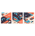 isometric shapes poster 3d abstract geometric vector image