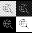 magnifying glass with globe icon isolated on vector image vector image
