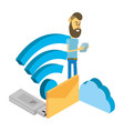 man and technology isometric vector image vector image