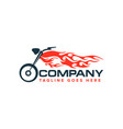 motorcycle with flame logo auto race motor bike vector image