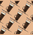 pattern with coffee glass vector image vector image