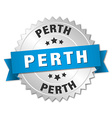 Perth round silver badge with blue ribbon vector image vector image
