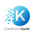 realistic letter k logo in colorful circle vector image vector image