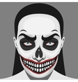 Scary Skull Woman with Halloween Makeup vector image