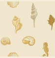 seamless pattern with seashells various shapes vector image vector image