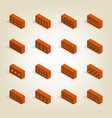 set of 3d bricks in isometric vector image vector image
