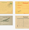 Set of old post envelopes and tickets vector image vector image
