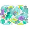 Set of the isometric city buildings shops park vector image vector image