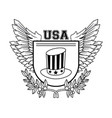 united states of america emblem in black and white vector image vector image