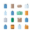 various containers liquid set wooden barrels for vector image vector image