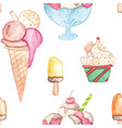 watercolor ice cream pattern colorful summer vector image vector image