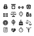 Weight icon set - scales weighing and balance vector image