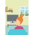 Woman watching TV vector image vector image
